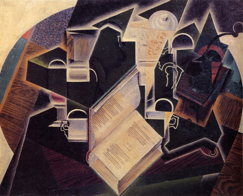 Book Pipe, and Glasses, 1915 by Juan Gris
