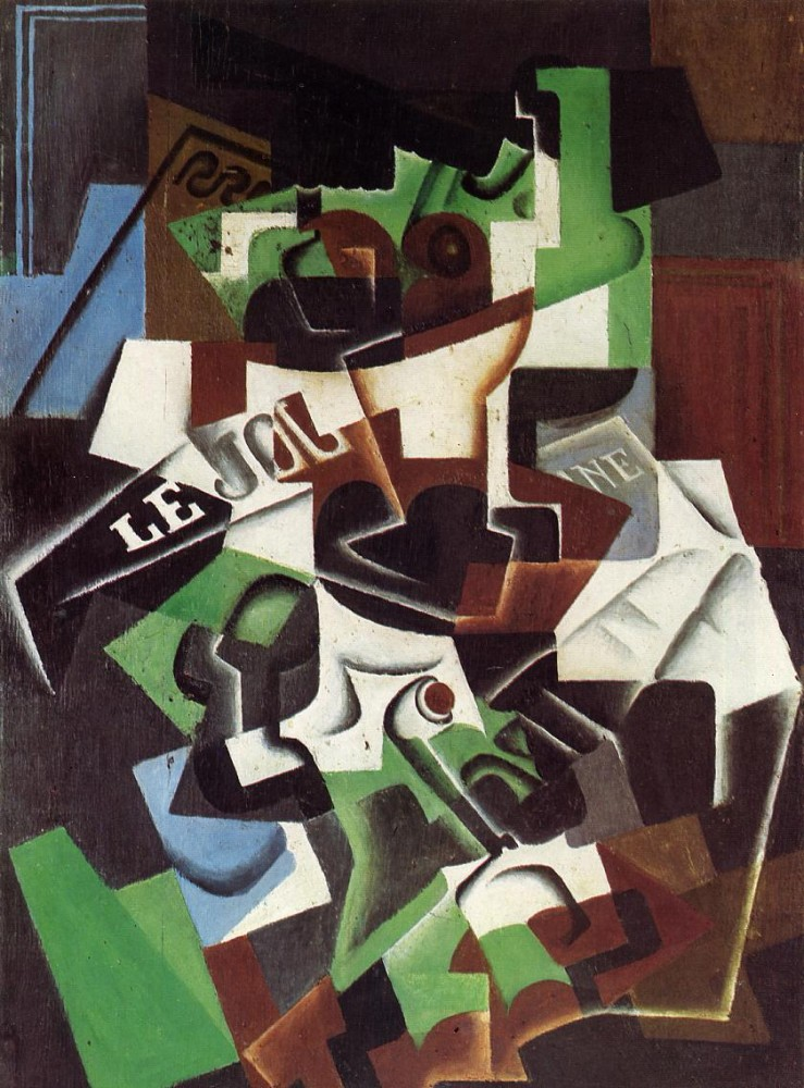 Fruit Bowl, Pipe and Newspaper by Juan Gris