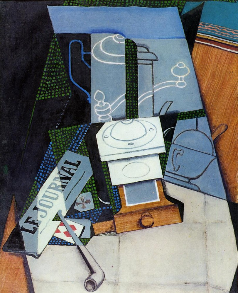 Newspaper with Coffee Mill by Juan Gris