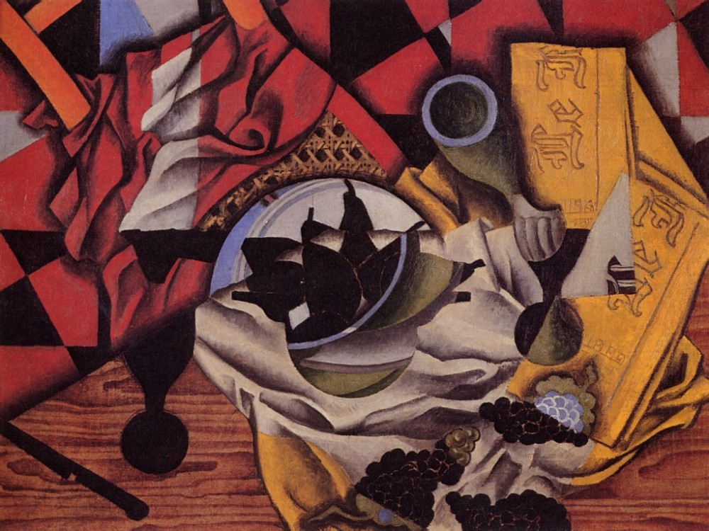 Pears and Grapes on a Table by Juan Gris
