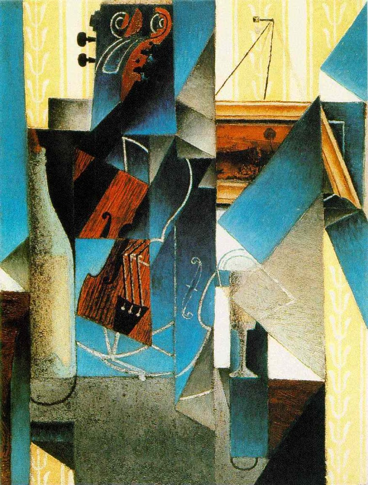 Violin and Engraving by Juan Gris