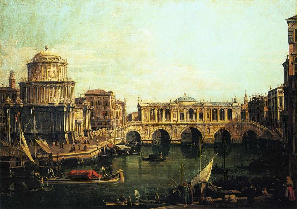 Capriccio Of The Grand Canal With An Imaginary Rialto Bridge And Other Buildings by Giovanni Antonio Canal