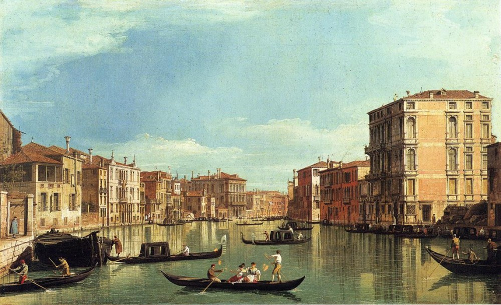 Grand Canal Between The Palazzo Bembo And The Palazzo Vendramin by Giovanni Antonio Canal