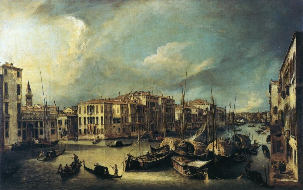 Grand Canal Looking Northeast From Near The Palazzo Corner Spinelli To The Rialto Bridge by Giovanni Antonio Canal
