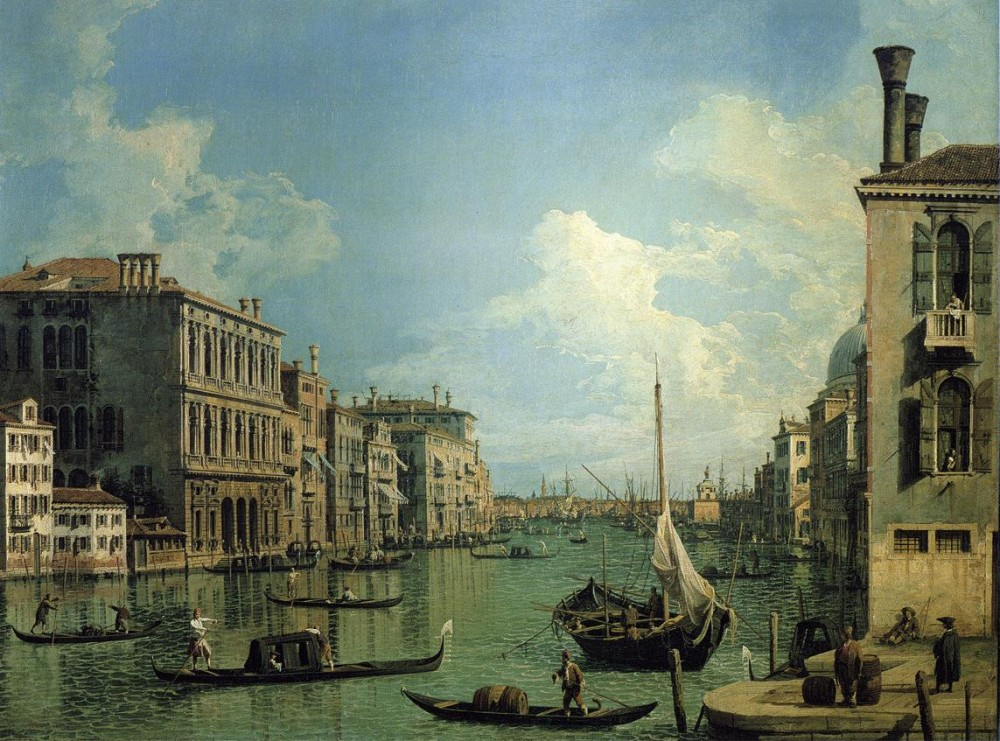 Grand Canal Near The Campo San Vio Looking Towards The Church Of Santa Maria Della Salute by Giovanni Antonio Canal