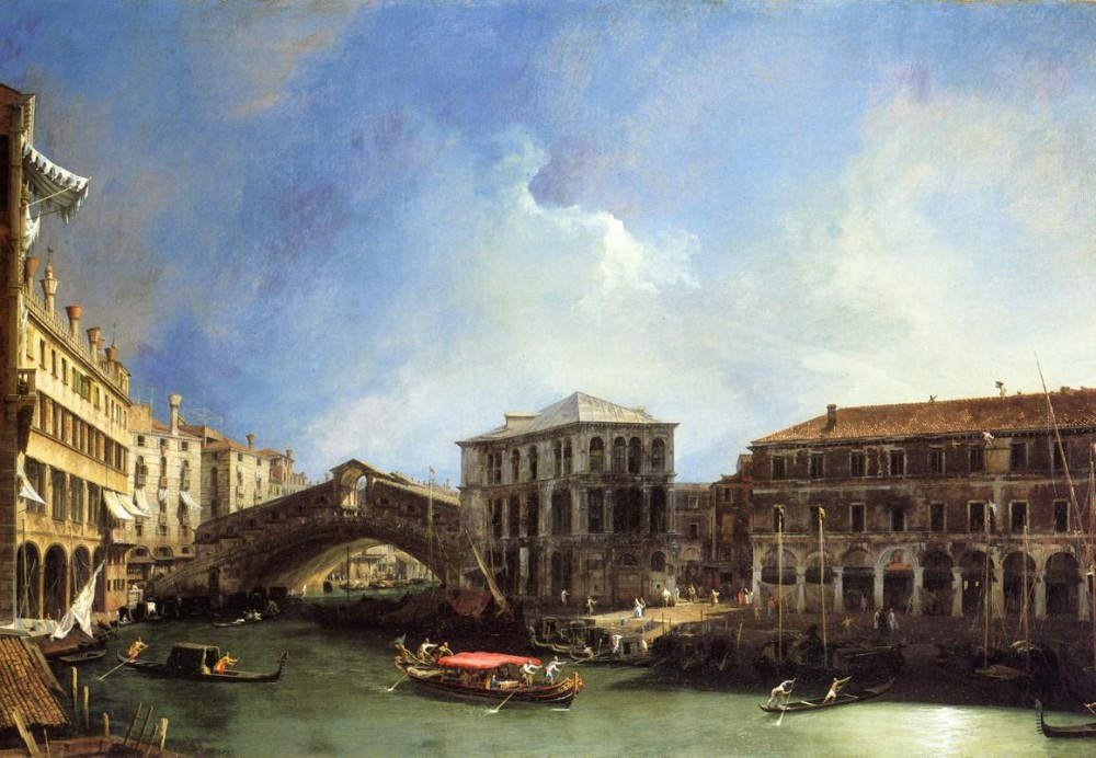 Grand Canel The Rialto Bridge From The North by Giovanni Antonio Canal