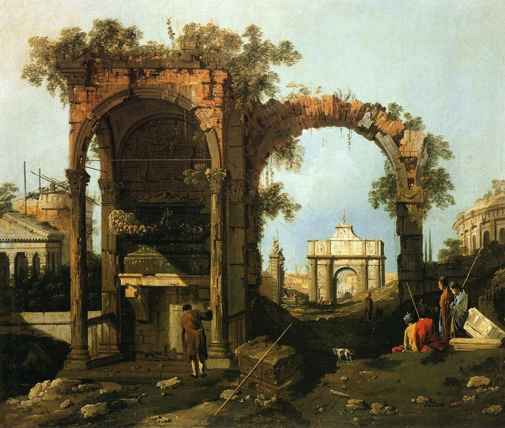 Landscpae With Ruins Picket Duty In Virginia by Giovanni Antonio Canal