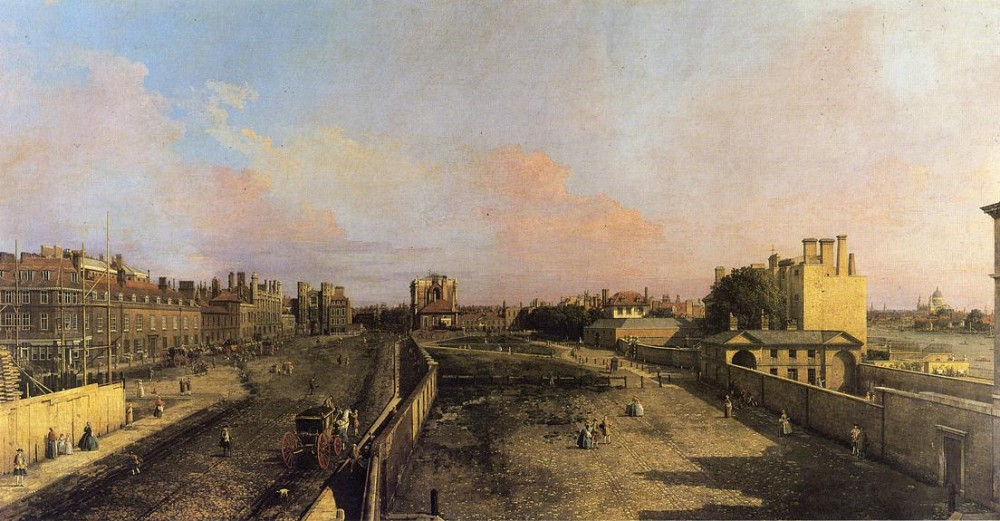 London Whitehall And The Privy Garden Looking North by Giovanni Antonio Canal