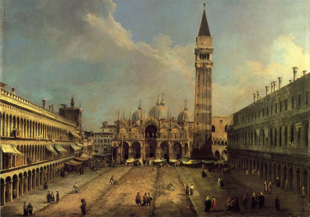 Piazza San Marco Looking East Along The Central Line by Giovanni Antonio Canal