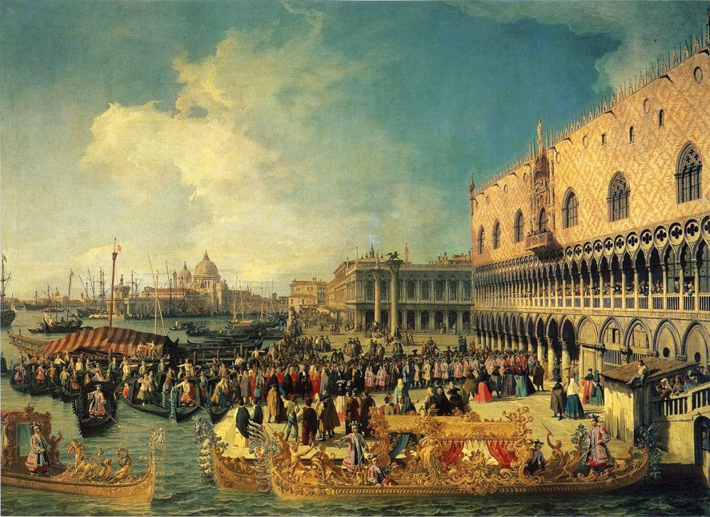 Reception Of The Imperial Ambassador At The Doges Palace by Giovanni Antonio Canal