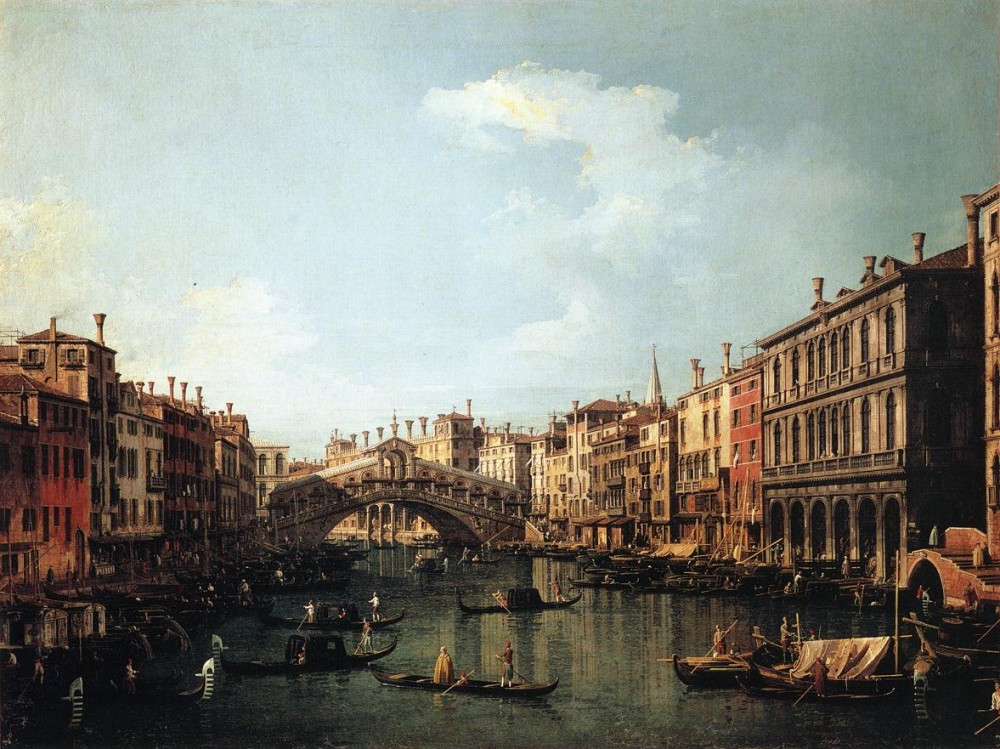 Rialto Bridge From The South by Giovanni Antonio Canal