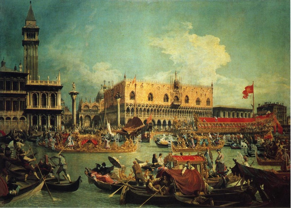 The Bucintogoro By The Molo On Ascension Day by Giovanni Antonio Canal