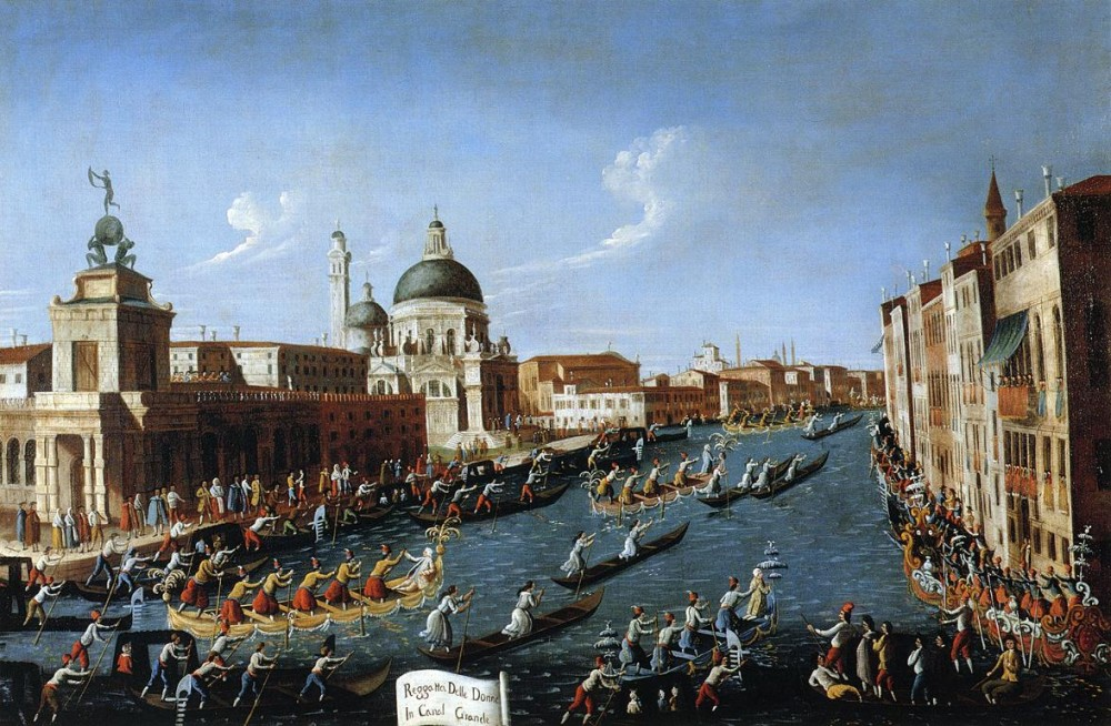 The Womens Regatta On The Grand Canal by Giovanni Antonio Canal