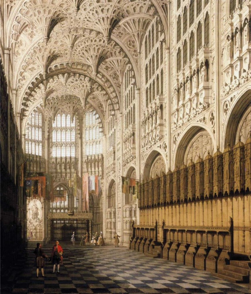 The Interior Of Henry Viis Chapel In Westminster Abbey by Giovanni Antonio Canal
