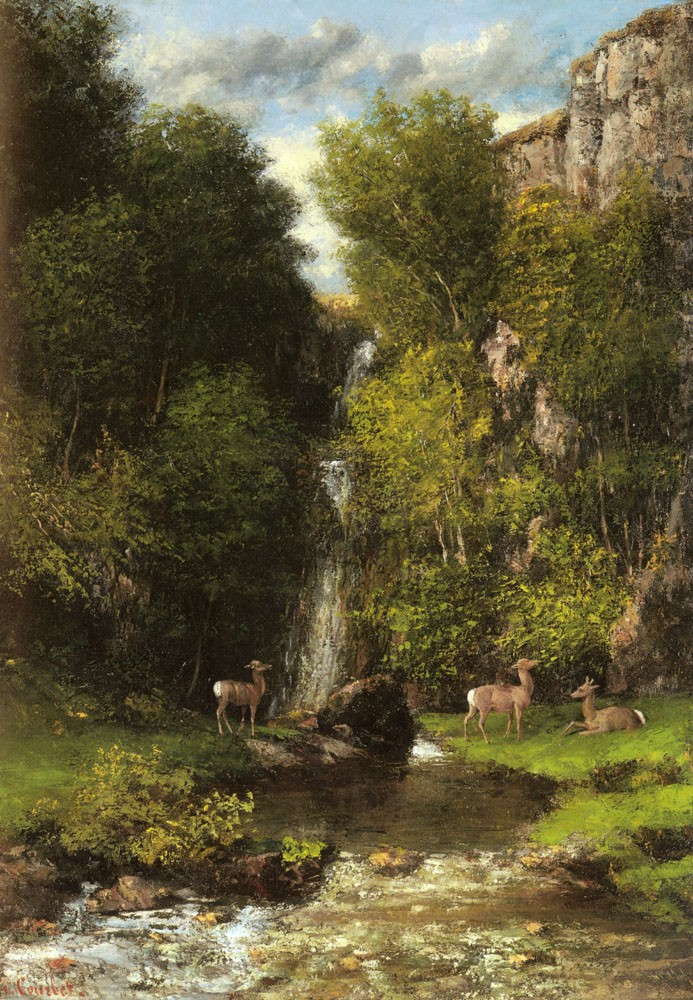A Family Of Deer In A Landscape With A Waterfall by Jean Désiré Gustave Courbet