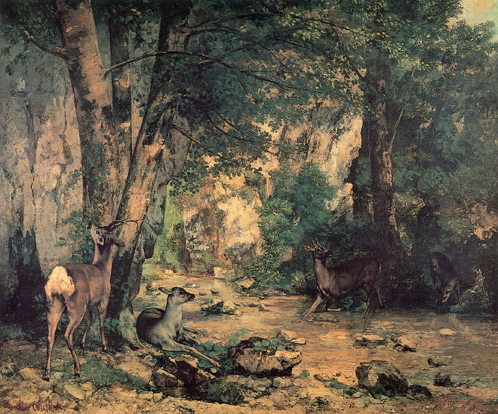 A Thicket of Deer at the Stream of Plaisir Fountaine by Jean Désiré Gustave Courbet