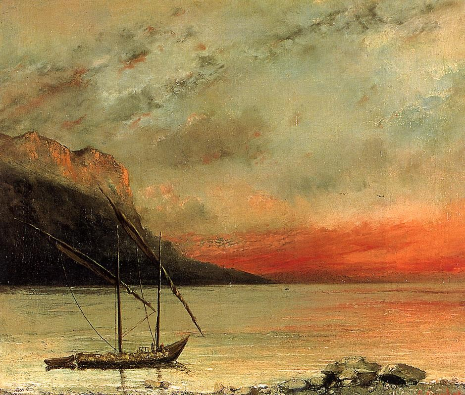 Sunset on Lake Leman by Jean Désiré Gustave Courbet