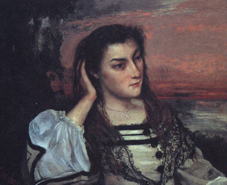 Portrait of Gabrielle Borreau The Dreamer by Jean Désiré Gustave Courbet