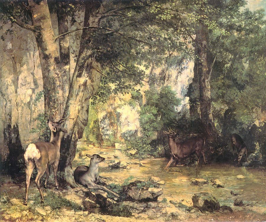 The Shelter of the Roe Deer at the Stream of Plaisir Fontaine Doubs by Jean Désiré Gustave Courbet