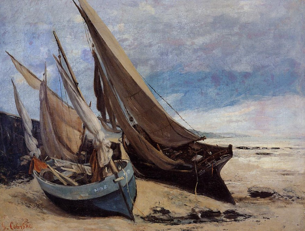 Fishing Boats on the Deauville Beach by Jean Désiré Gustave Courbet