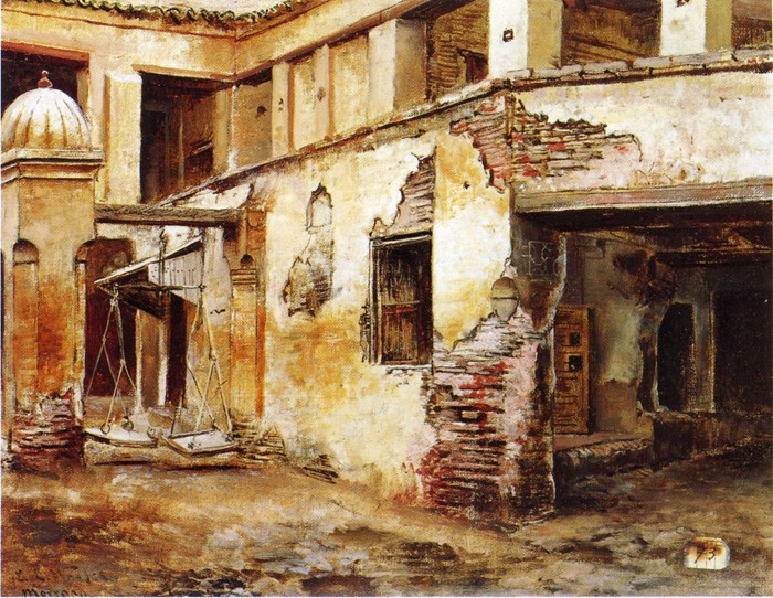 Lord Courtyard in Morocco by Edwin Lord Weeks