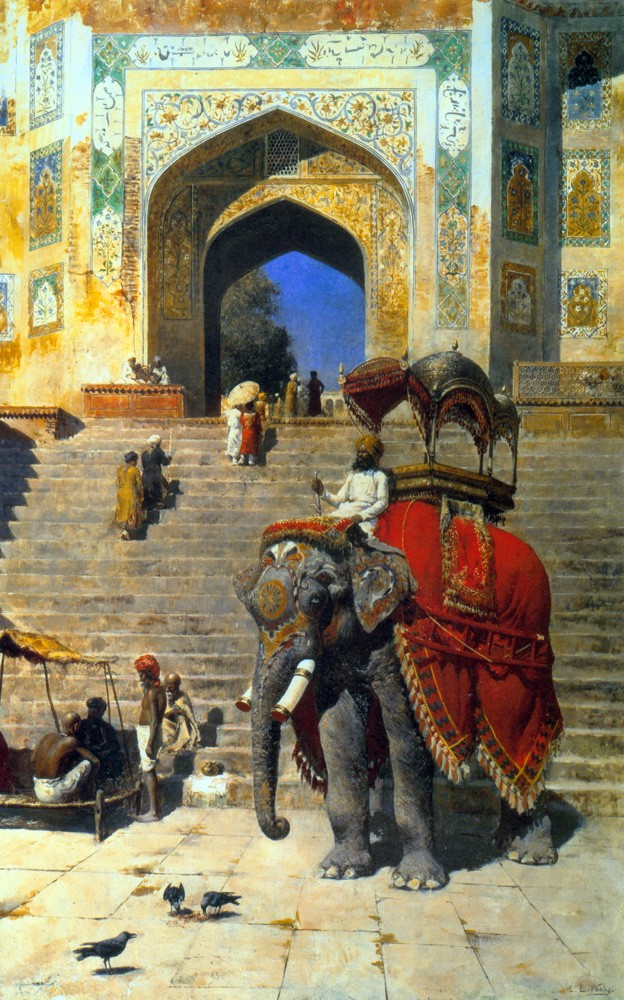 Royal Elephant at the Gateway to the Jami Masjid Mathura Oil On Canvas by Edwin Lord Weeks