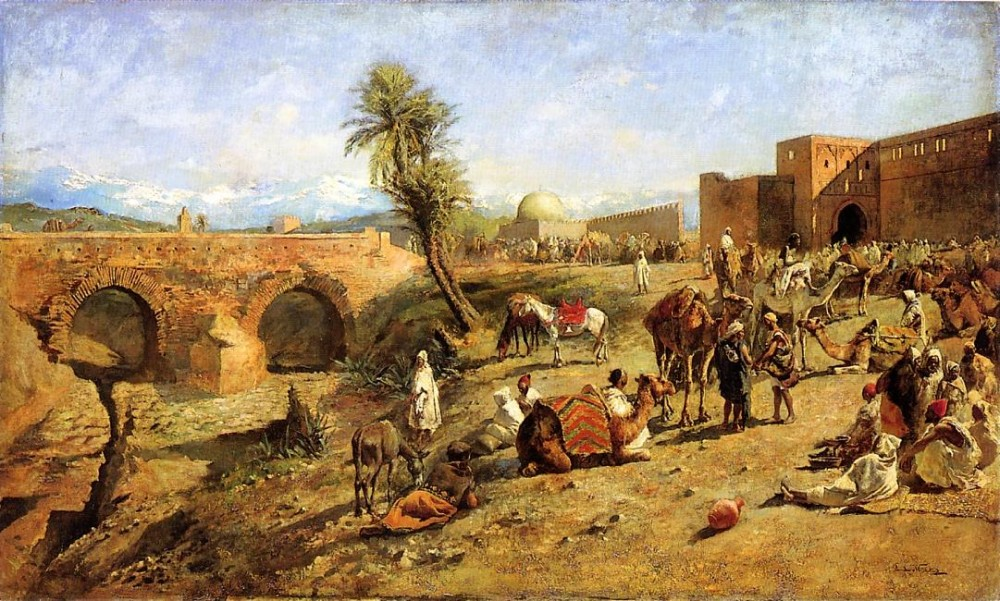 Arrival of a Caravan Outside The City of Morocco by Edwin Lord Weeks