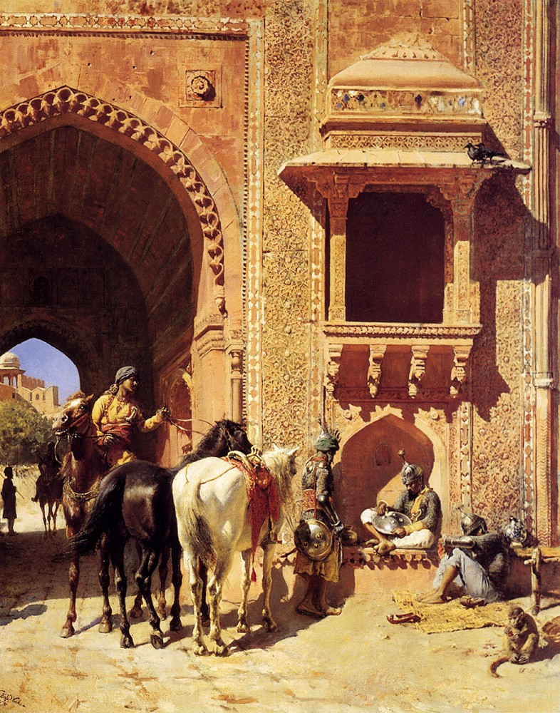 Gate Of The Fortress At Agra India by Edwin Lord Weeks