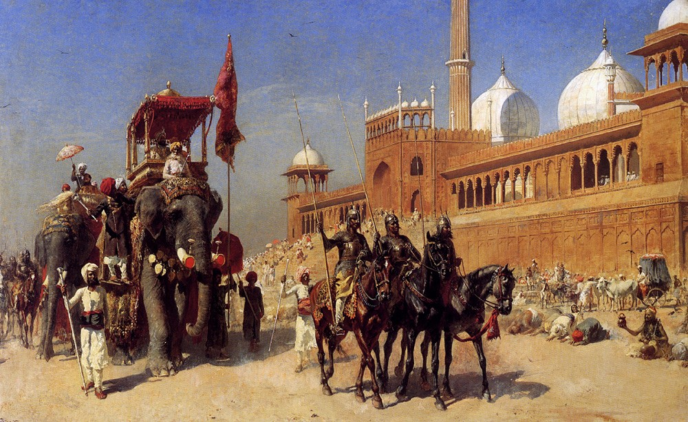 Great Mogul And His Court Returning From The Great Mosque At Delhi India by Edwin Lord Weeks