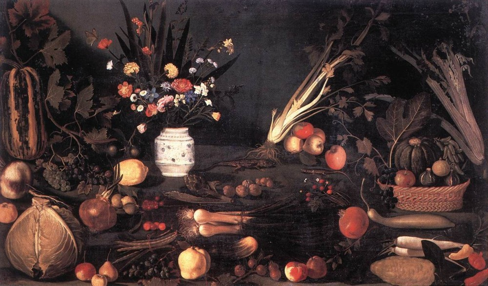Still Life with Flowers and Fruit by Michelangelo Merisi da Caravaggio