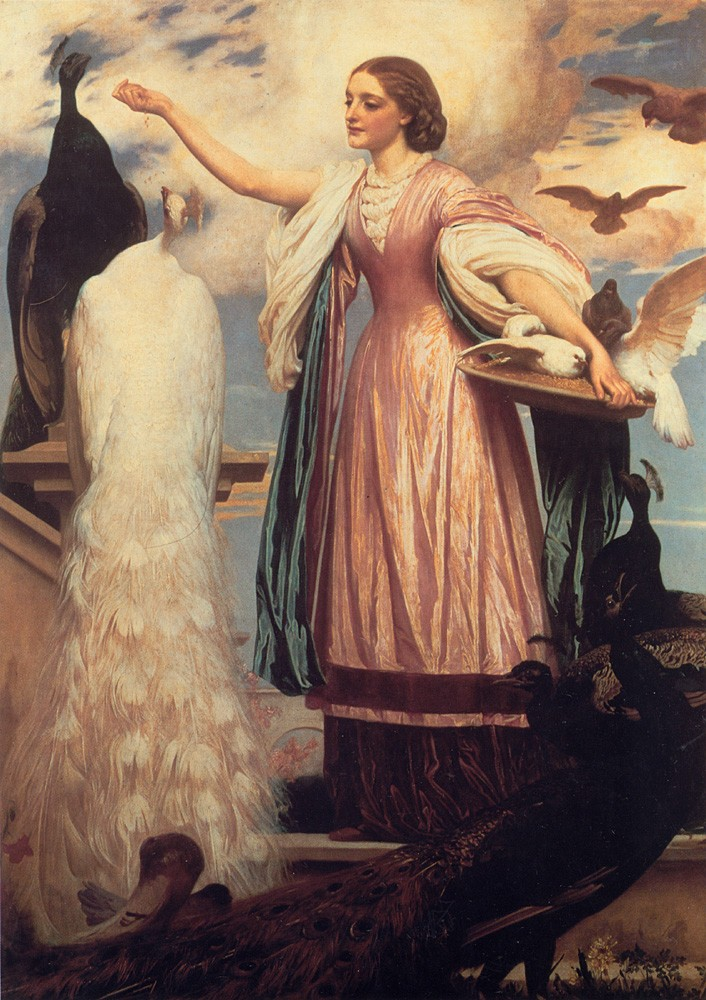 A Girl Feeding Peacocks by Sir Frederic Leighton