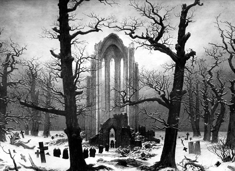 Monastery Graveyard in the Snow by Caspar David Friedrich