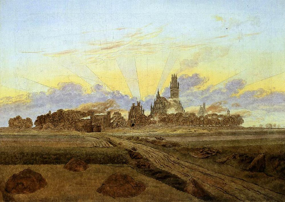 Neubrandenburg In Flames by Caspar David Friedrich