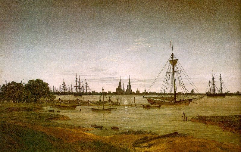 Port by Moonlight by Caspar David Friedrich