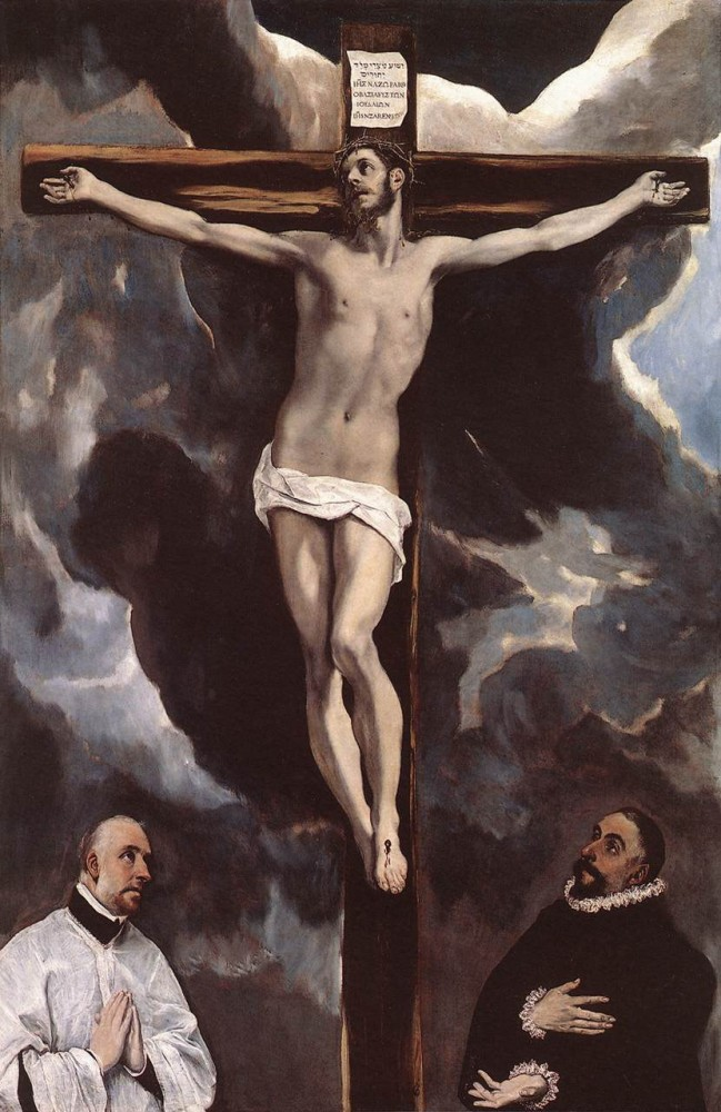 Christ on the Cross Adored by Donors by Doménikos Theotokópoulos (el Greco)