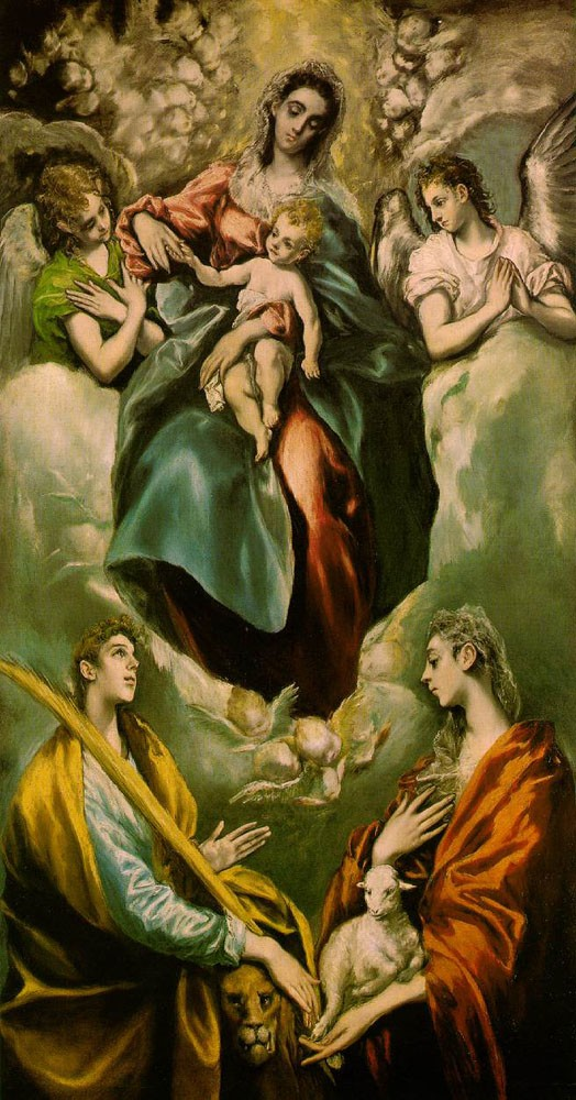 Virgin and Child with St Martina and St Agnes by Doménikos Theotokópoulos (el Greco)