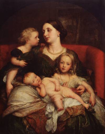 Mrs George Augustus Frederick Cavendish Bentinck and her Children by George Frederic Watts