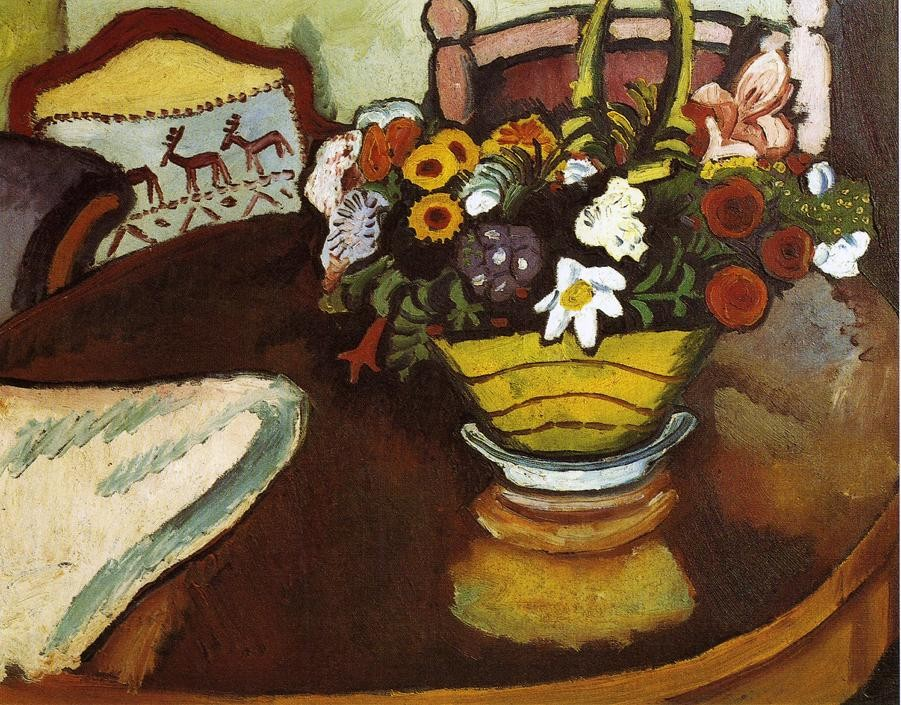 Still Life With Stag Cushion And Flowers by August Macke