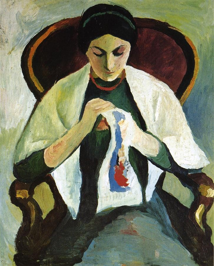 Woman Embroidering In An Armchar Portrait Of The Artists Wife by August Macke