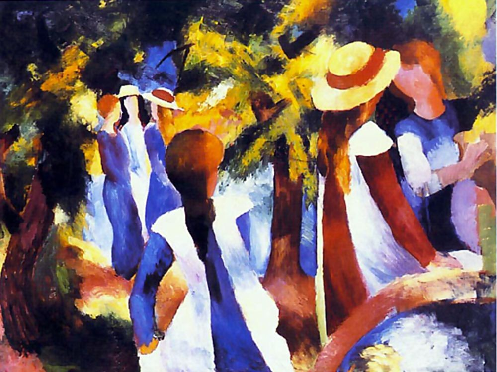 Girls Blue Trees by August Macke