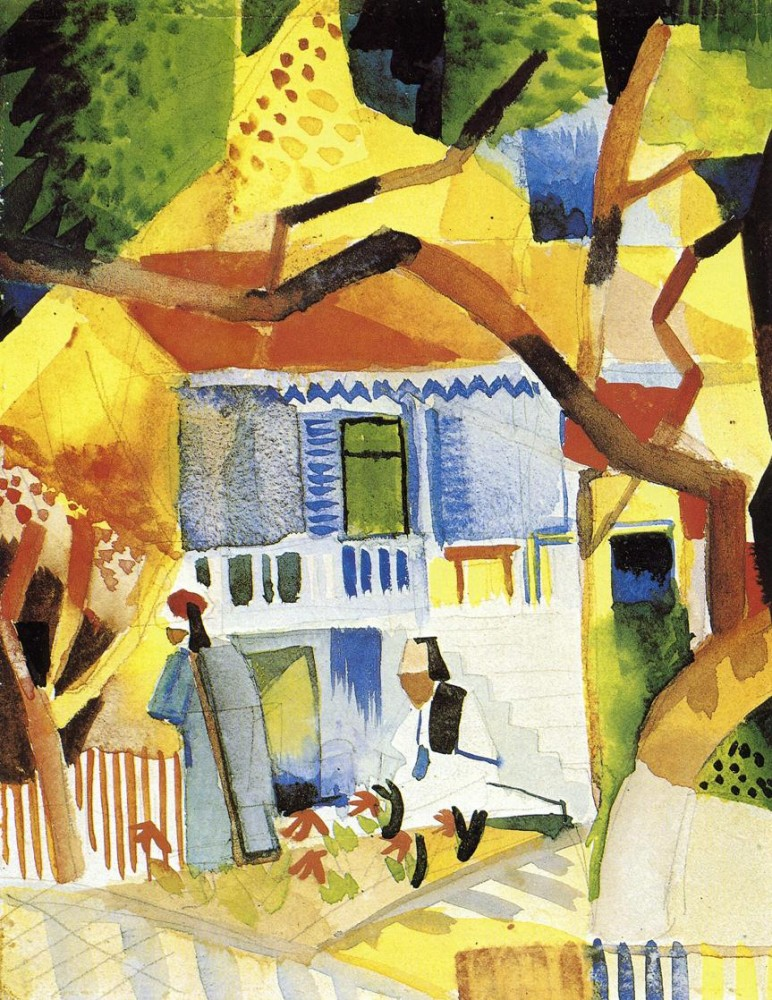 Courtyard Of A Villa At St Germain by August Macke