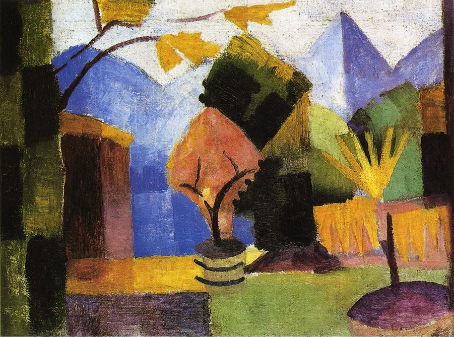 Garden On Lake Of Thun by August Macke