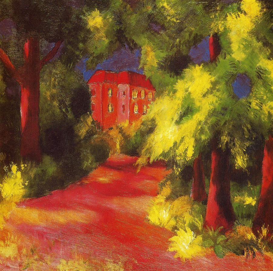 Red House In A Park by August Macke