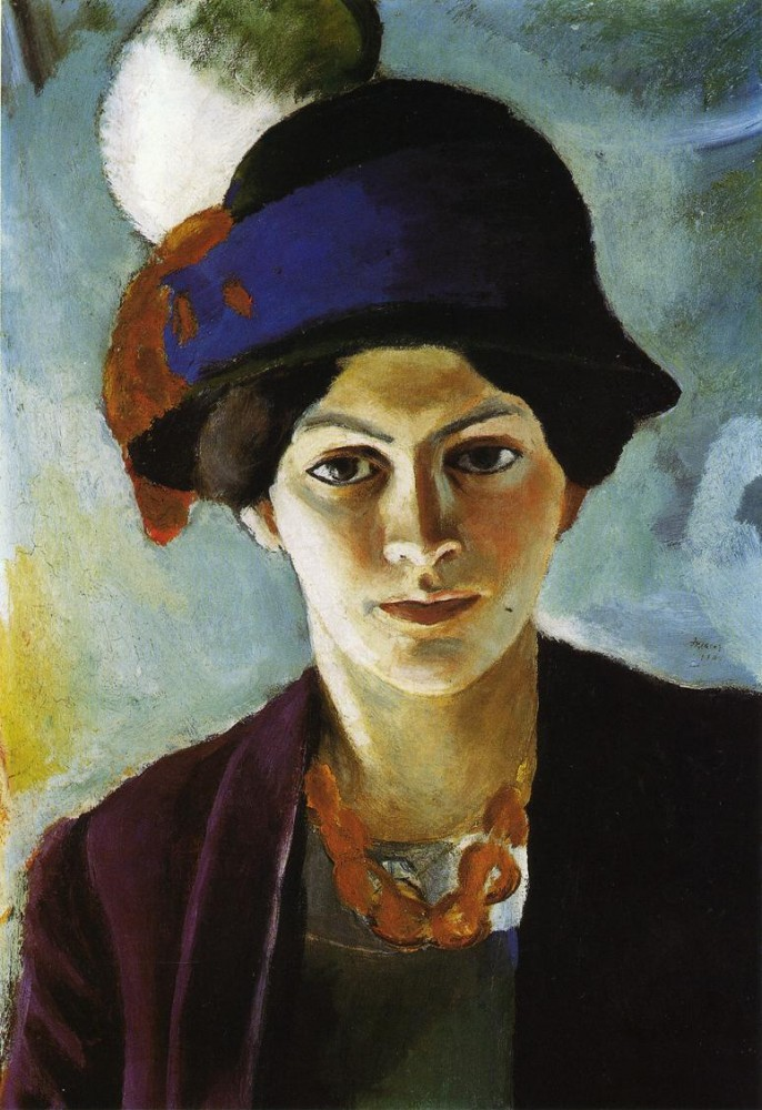 Portrait Of The Artists Wife With Hat by August Macke