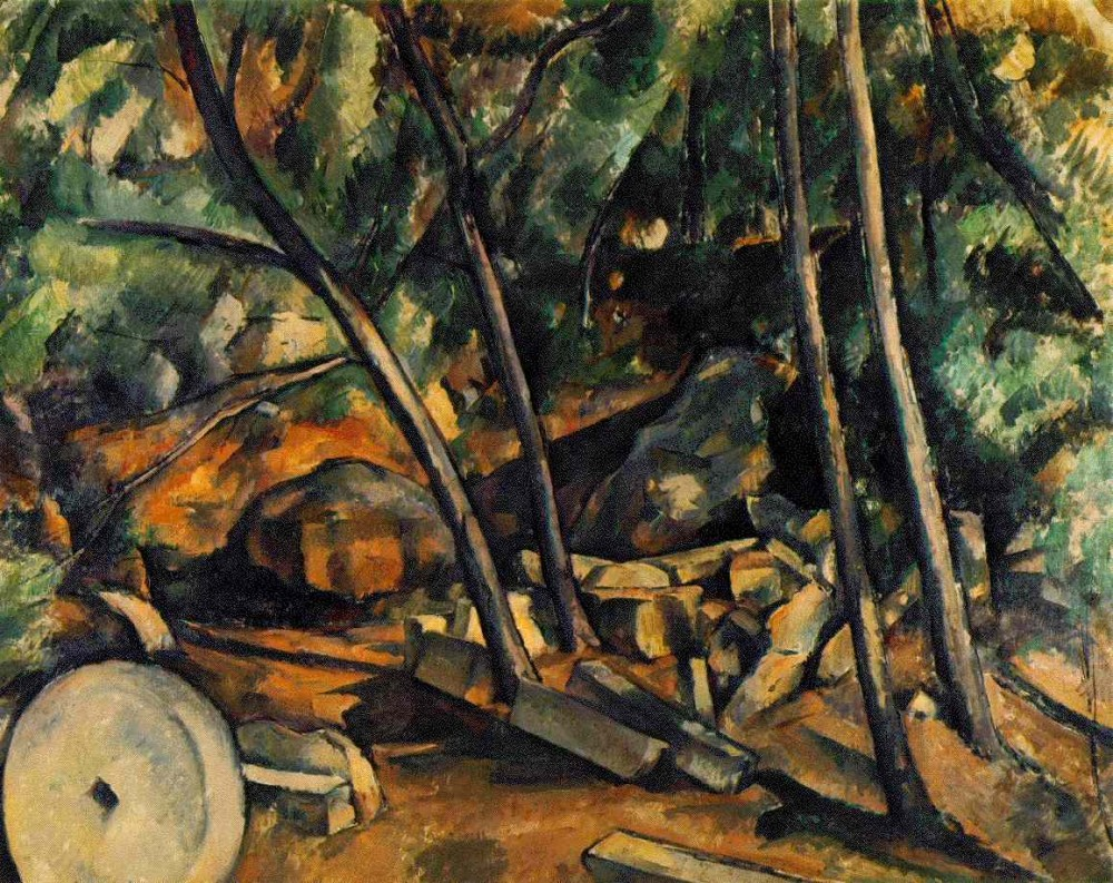 Woods with Millstone by Paul Cézanne