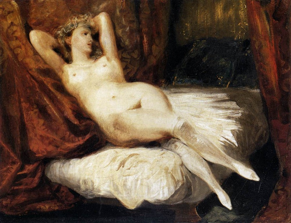 Female Nude Reclining on a Divan by Ferdinand Victor Eugène Delacroix