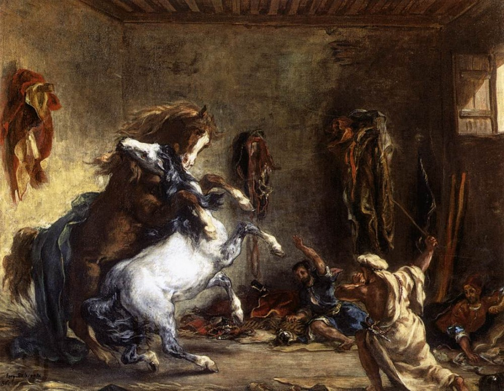 Arab Horses Fighting in a Stable by Ferdinand Victor Eugène Delacroix