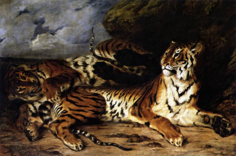 A Young Tiger Playing with its Mother by Ferdinand Victor Eugène Delacroix