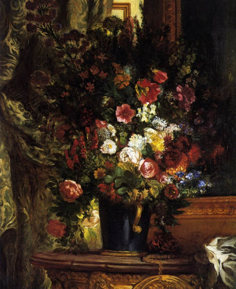 A Vase of Flowers on a Console by Ferdinand Victor Eugène Delacroix