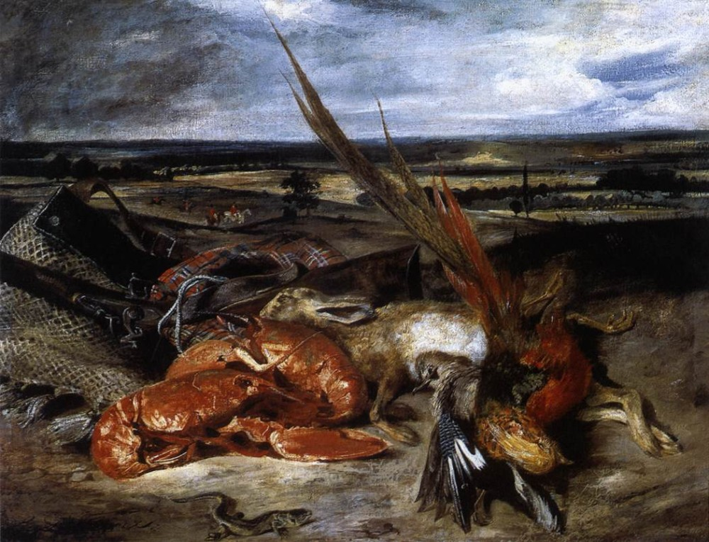Still Life with Lobster by Ferdinand Victor Eugène Delacroix